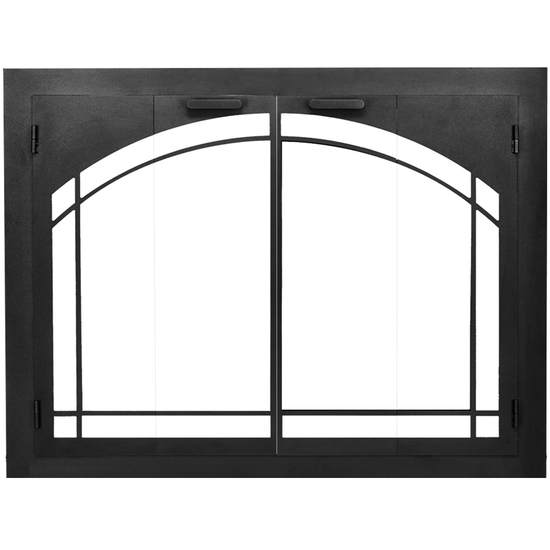 Carolina Arched Zero Clearance Fireplace Doors in Textured Black