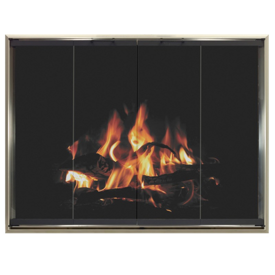 4 sided overlap fit Kohrs prefab fireplace door with draft shown in Brite Nickel with Textured Black door frame