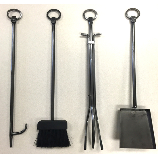 Fireplace tools: log prod, fireplace brush, tongs, ash shovel