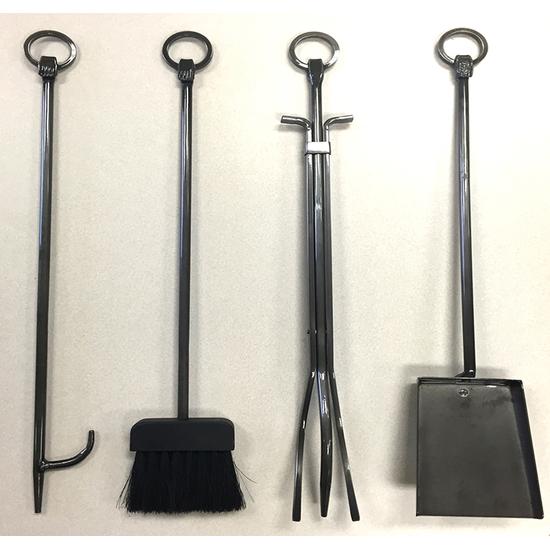 Fireplace tools: log prod, fireplace brush, tongs, ash shovel