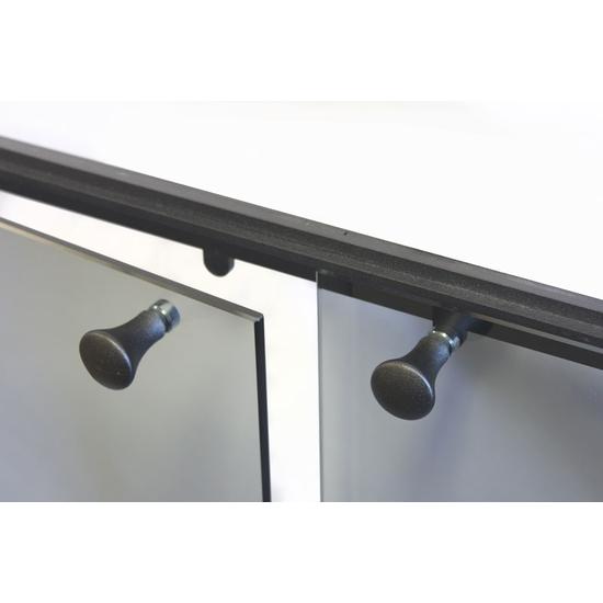 Vanguard Fireplace Door - closeup of knobs in Matte Black
