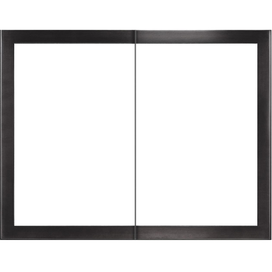 Slim Moderne Zero Clearance Fireplace Door in Rustic Black