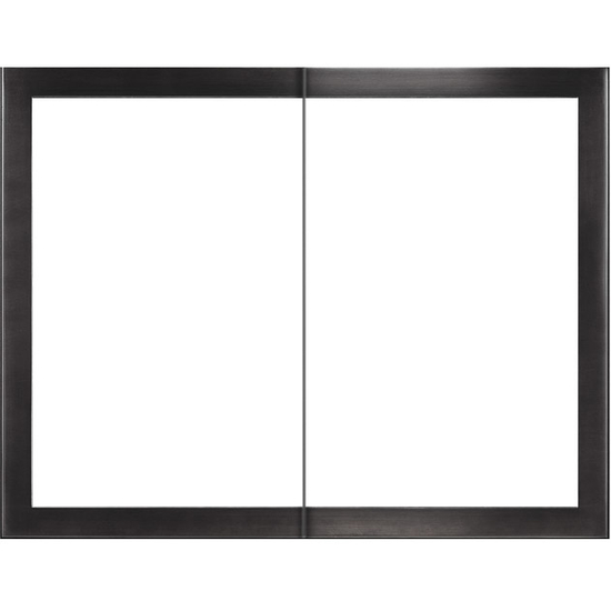 Slim Moderne Zero Clearance Fireplace Door in Rustic Black