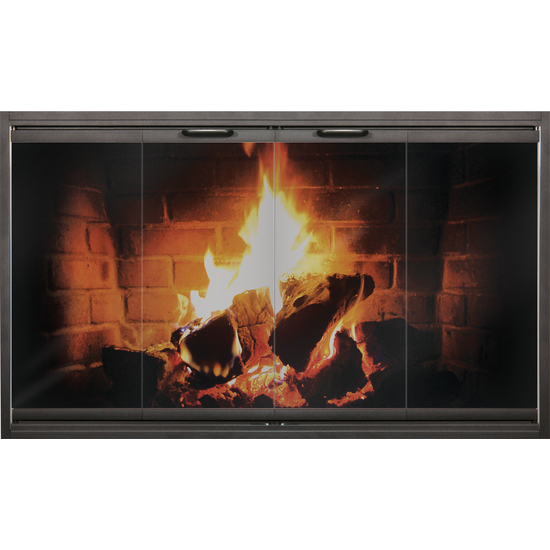 Thinline fireplace door in black by Thermo-Rite