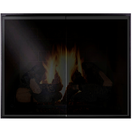 Odyssey Fireplace Door shown with Black Glass
