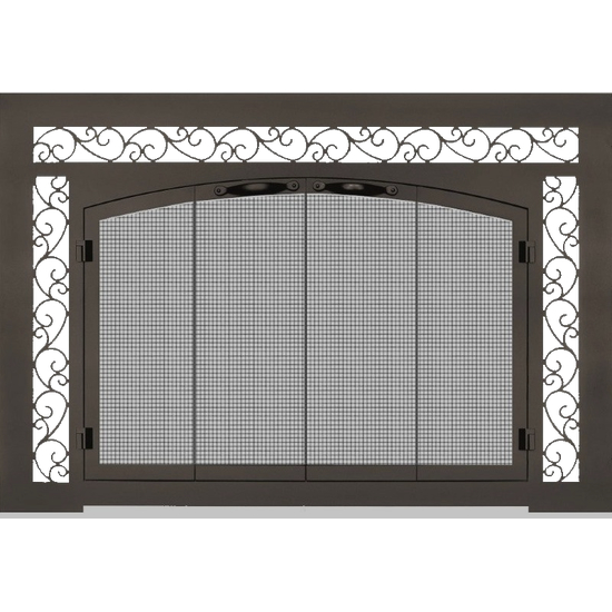 Cascadian Arch Conversion Fireplace Door with sidelights & transom scrollwork design - shown with upgraded bifold doors in Weathered Brown finish.