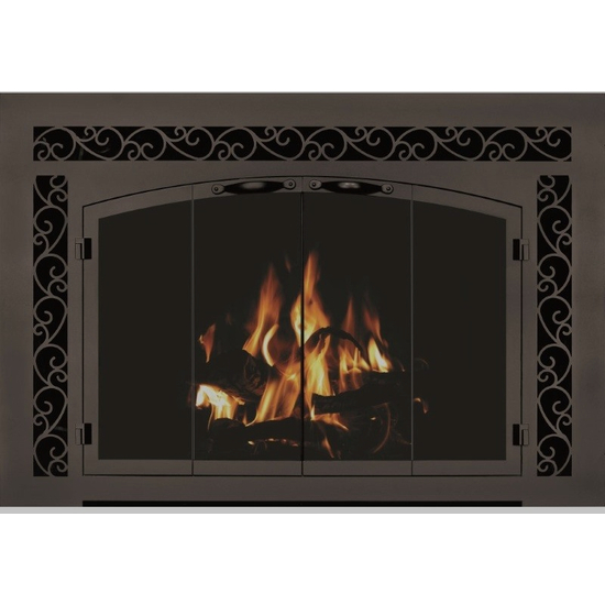 The CascadianArch Conversion Masonry Fireplace Door (in Weathered Brown finish) can only be installed on a masonry fireplace.