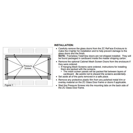 Installation diagram for inside fit doors