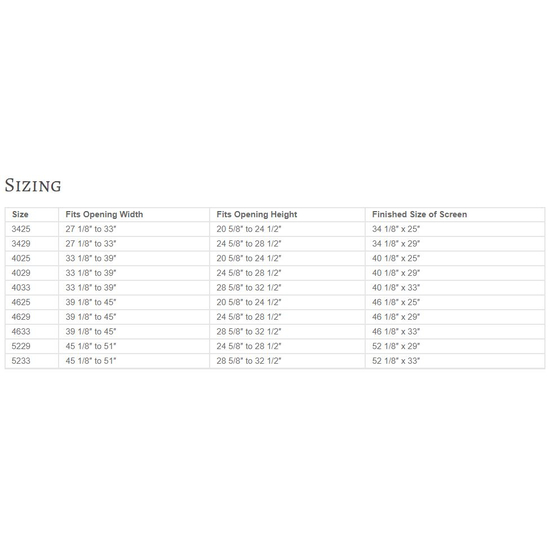 Sentry Contemporary Sizing Chart