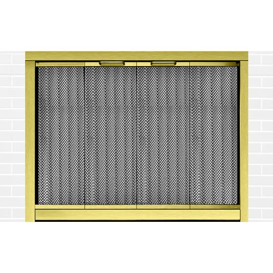 Ultraview Masonry Fireplace Door in Polished Brass