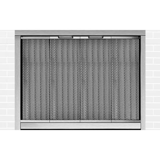 Ultraview Masonry Fireplace Door in Satin Nickel