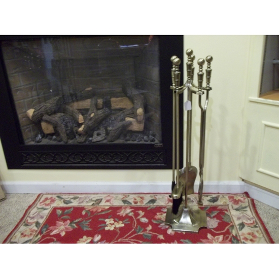 5 Piece Brass Fireplace Tool Set