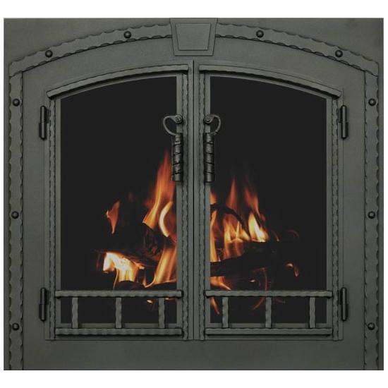 Denali Arch Conversion Masonry Fireplace Door in Textured Black