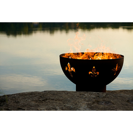 Fleur de Lis Wood Burning Fire Pit 36 Inches
