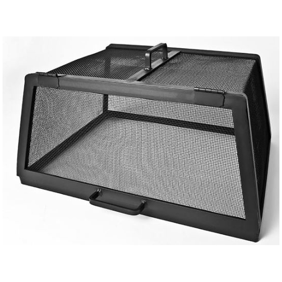 Square Carbon Steel Hinged Fire Pit Screen