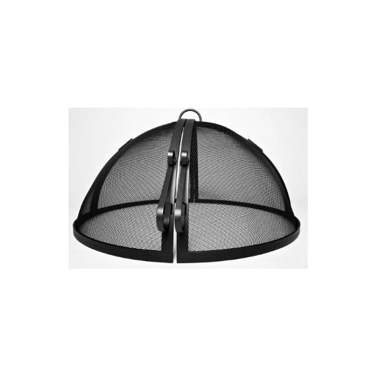 USA Made Hinged Round Fire Pit Screen, Carbon Steel