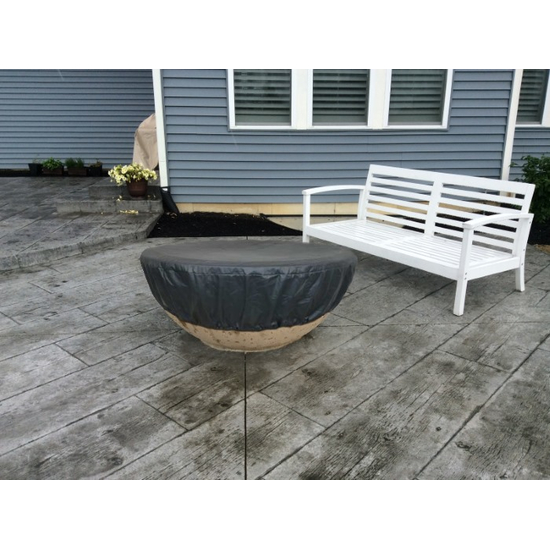 Round Vinyl Fire Pit Cover Black Fits 43 to 64 Inches