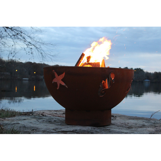 Sea Creatures Wood Burning Fire Pit 36 Inches