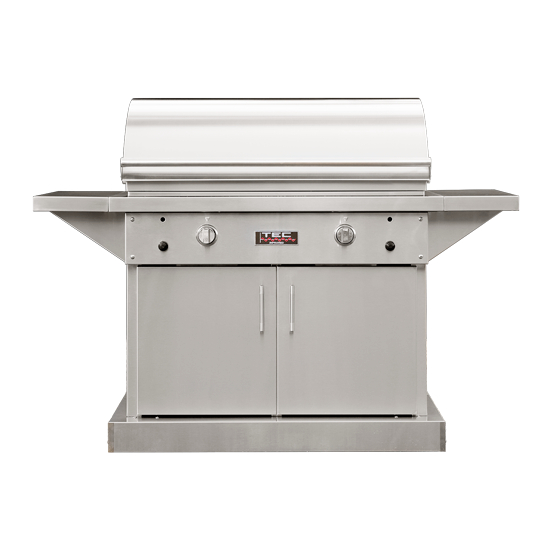 44 Inch TEC Sterling Patio FR Infrared Grill On Stainless Steel Cabinet With Side Shelves