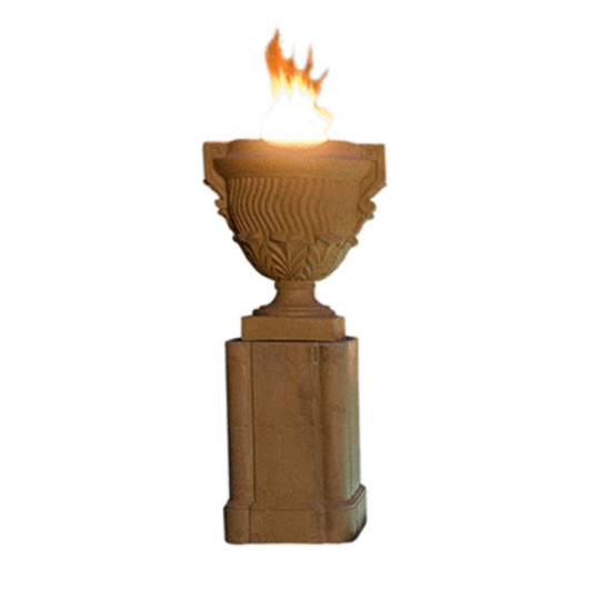 Piage Fire Urn & Pedestal by American Fyre Designs shown in Sedona finish