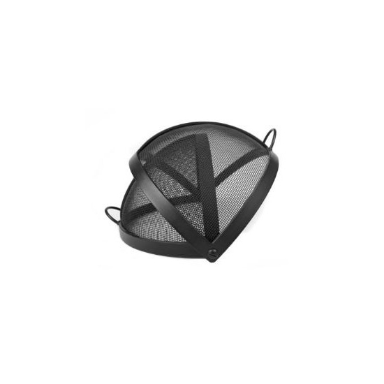 Round pivot fire pit screen is accessible from either side