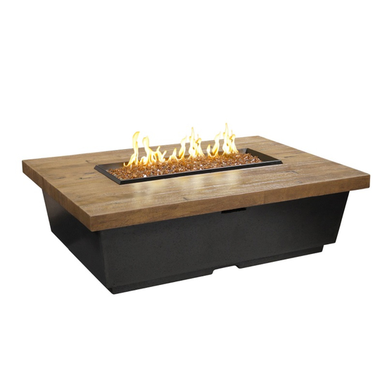 Rectangle Reclaimed Wood Contempo Fire Table 52 Inch