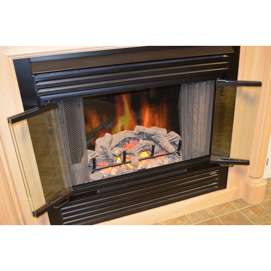 Nightwell ZC Door - bi-fold doors fold in half for a beautiful view of the flames!