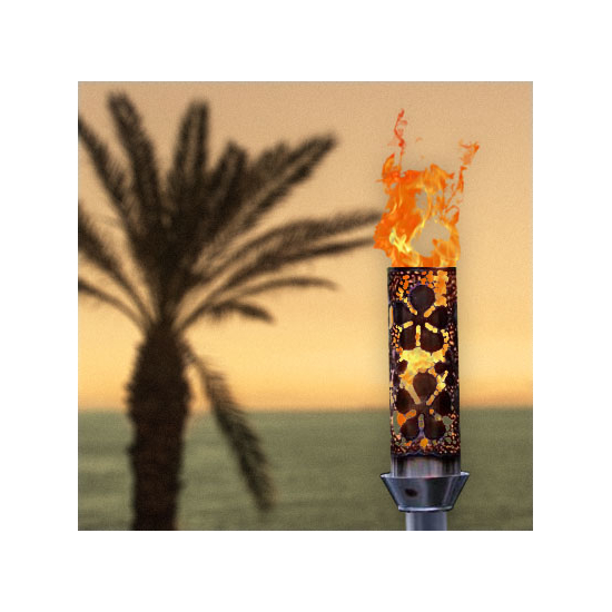 Plumeria tiki torch with vulcan ignition
