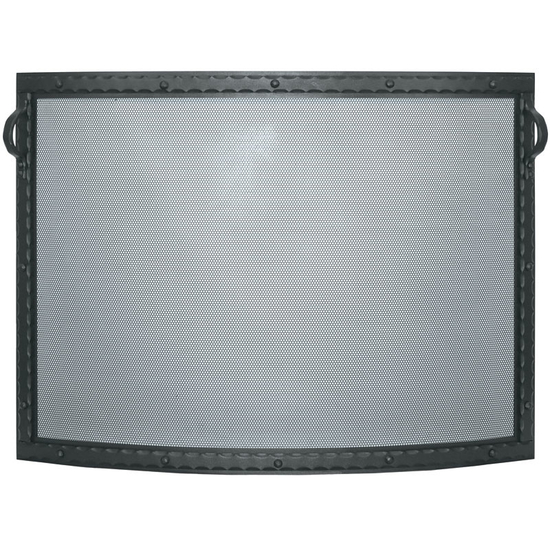 Denali Convex Single Panel Fireplace Screen shown in Textured Black powder coat finish