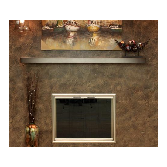Steel Mantel Shelf 58 Inch in charcoal