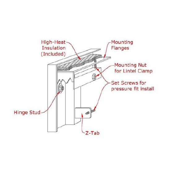 Appalachian All Glass fireplace door mounting diagram