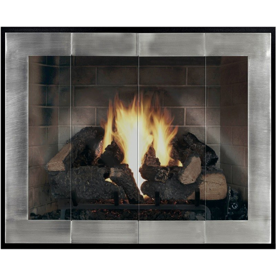 Enjoy the view of the flames through your Original Moderne Masonry Fireplace Door!