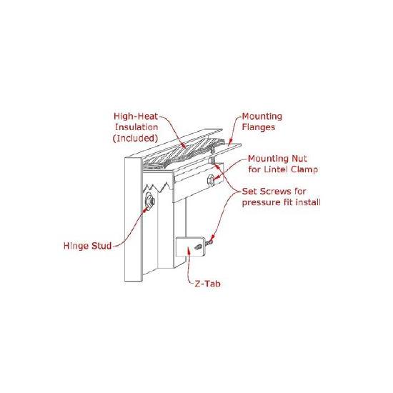 Mesh Masonry Fireplace Door mounting diagram