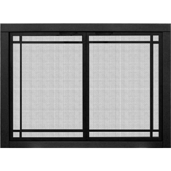 Mesh Zero Clearance Fireplace Door With Window Pane Design shown in Matte Black with square handles