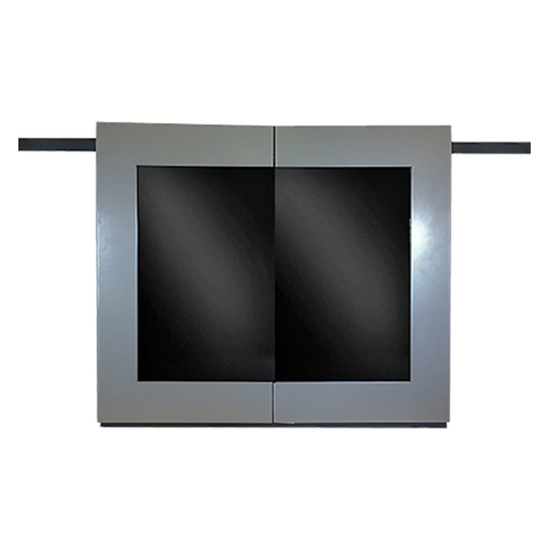 Moderne Fireplace Door With Doors Open - Sterling Door and Rustic Black Frame