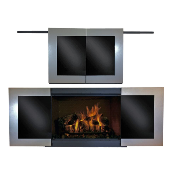 Moderne Fireplace Door With Doors Closed - Rustic Black Frame And Sterling Doors