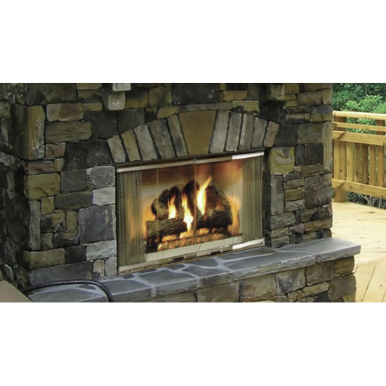 36 inch Montana Outdoor Wood Burning Fireplace shown with bi-fold doors and optional gas log set (not included)