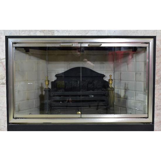 Moonlyte Zero Clearance Fireplace Door in Brushed Satin Nickel