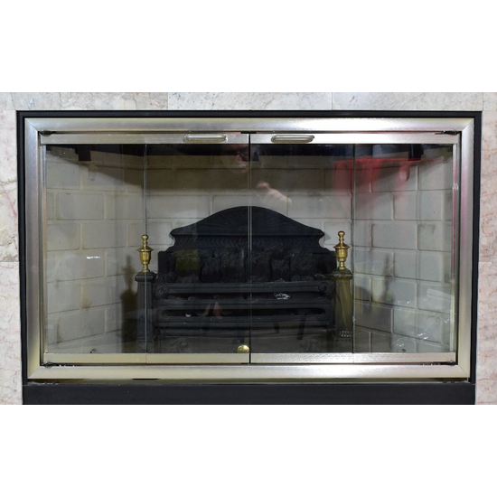Moonlyte Zero Clearance Fireplace Door in Brushed Satin Nickel