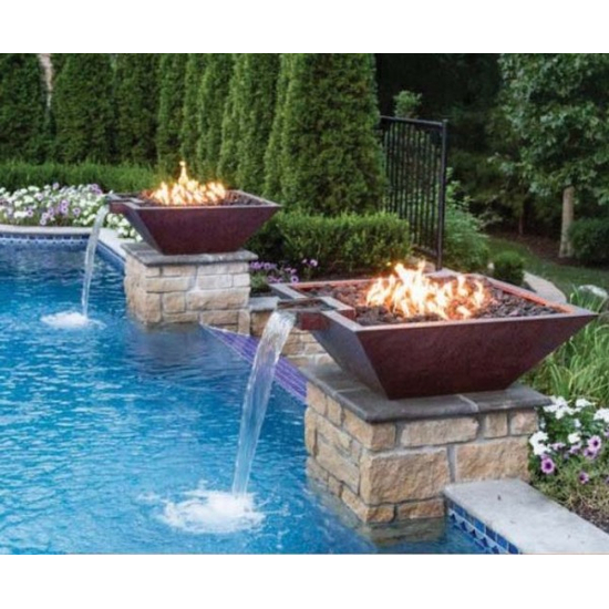 Copper Square Fire and Water Bowl