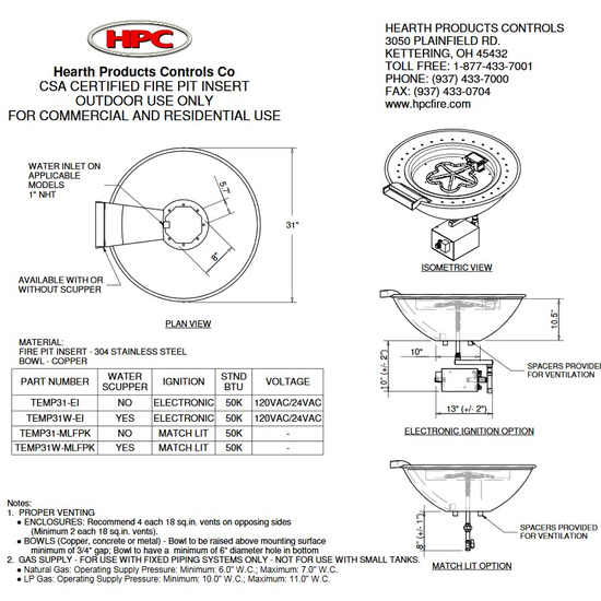 Tempe Fire Bowl Specifications