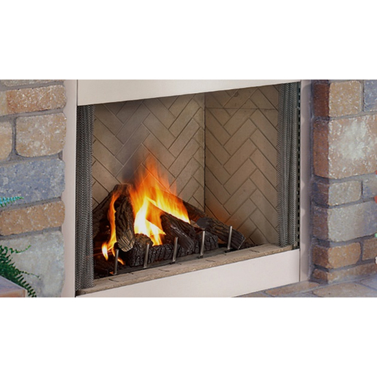 Superior VRE4336 Outdoor Gas Fireplace shown in white herringbone