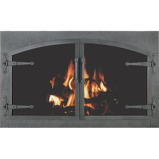 Forged Steel Laramie Arch Conversion Zero Clearance Fireplace Door With Strap Hinges in clear natural