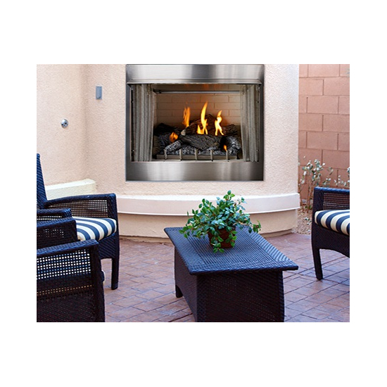 Carol Rose Outdoor Traditional Stainless Steel Gas Fireplace 42 Inch