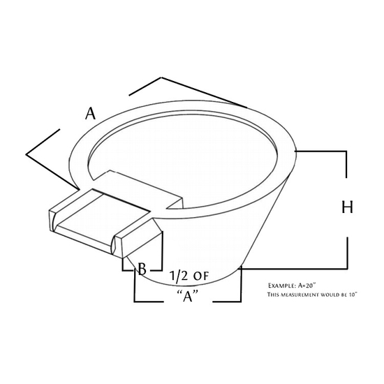 stainless steel round fire and water bowl diagram