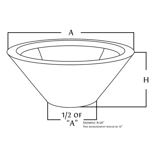 Copper round fire bowl diagram