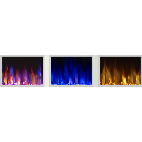 3 different flame color options with the allure electric fireplace 50 inch