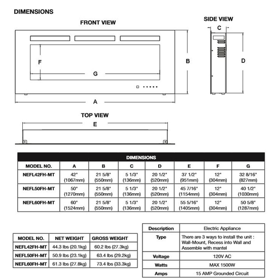 Specs for Allure Phantom Electric Fireplace 42 inch