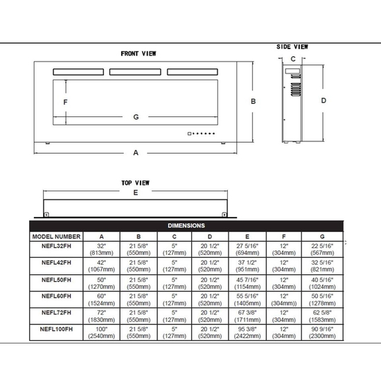 Specs for Allure electric fireplace 50 inch