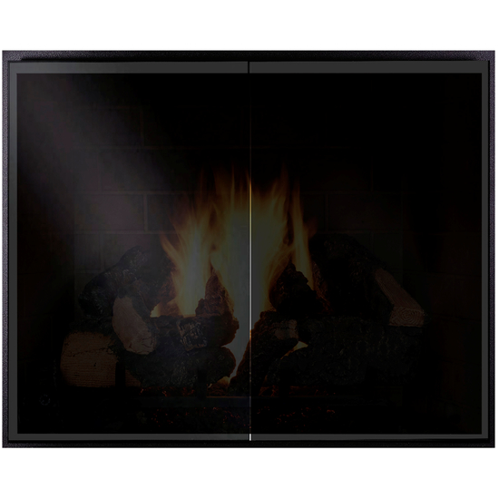 Odyssey Zero Clearance Fireplace Door With Black Glass